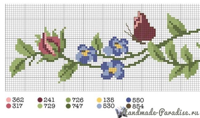 Розы и бабочка - вышивка крестом для полотенца (7)