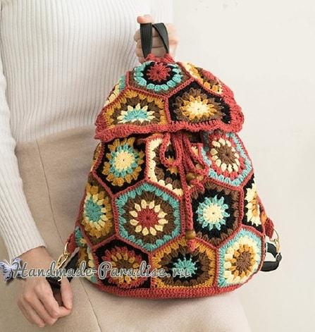 Рюкзак крючком из шестиугольных мотивов. Схемы (1)