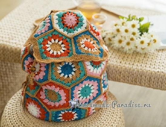 Рюкзак крючком из шестиугольных мотивов. Схемы (2)