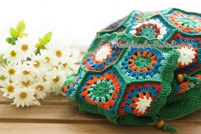 Рюкзак крючком из шестиугольных мотивов. Схемы (5)