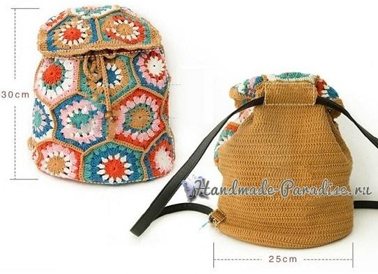 Рюкзак крючком из шестиугольных мотивов. Схемы (6)