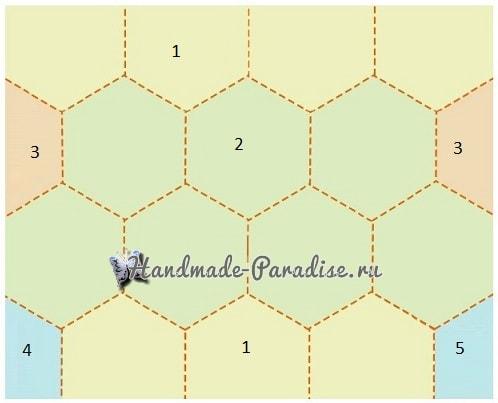 Рюкзак крючком из шестиугольных мотивов. Схемы (8)