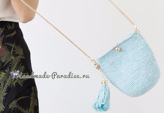 Стильная вязаная сумочка через плечо своими руками (11)
