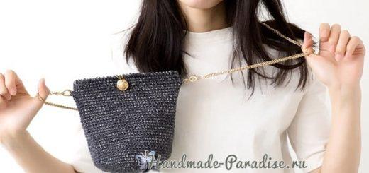 Стильная вязаная сумочка через плечо своими руками (4)