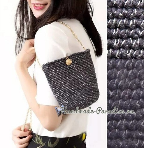 Стильная вязаная сумочка через плечо своими руками (7)