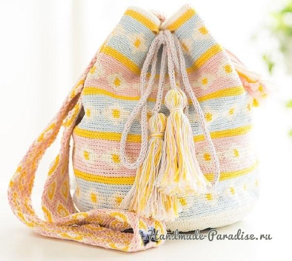 Сумка «Колумбийская мочила» с кошечкой. Схемы вязания (1)