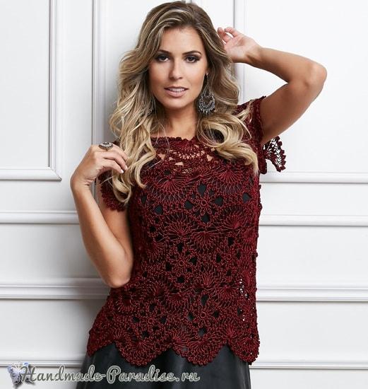 Вязание на вилке. Блуза цвета марсала (2)