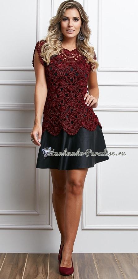 Вязание на вилке. Блуза цвета марсала (3)