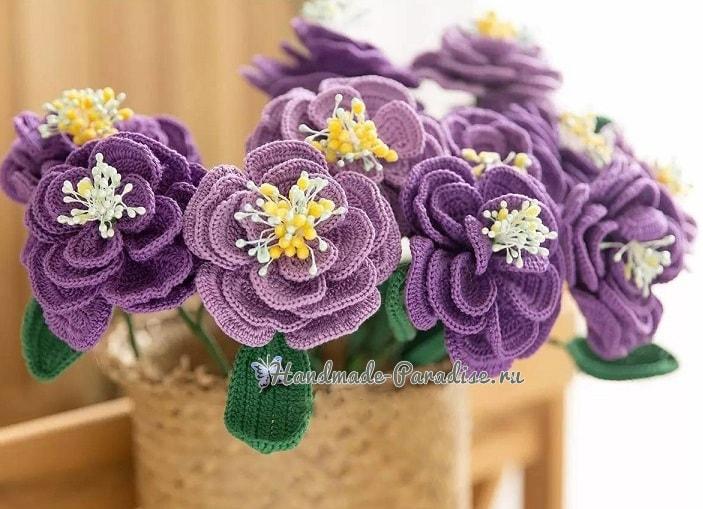 Японская роза крючком. Схемы вязания (1)