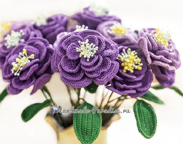 Японская роза крючком. Схемы вязания (2)