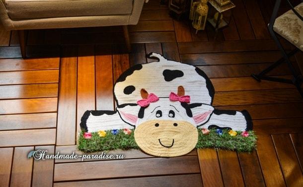«Буренка на травке» - детский коврик крючком (6)
