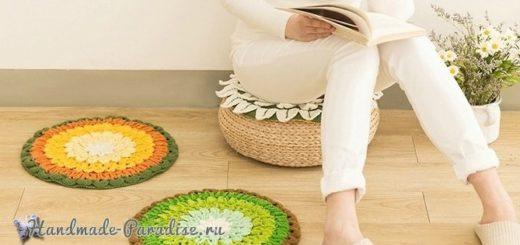 «Лотос» крючком - декоративная сидушка для стула (2)