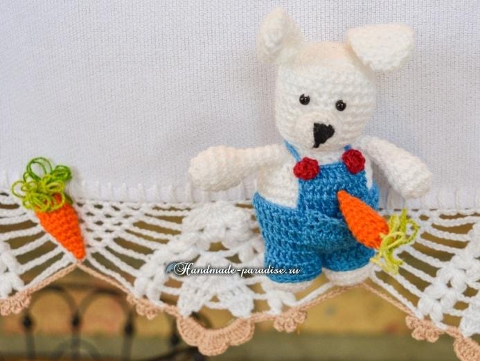 Амигуруми. Пасхальный зайчик с морковкой (3)