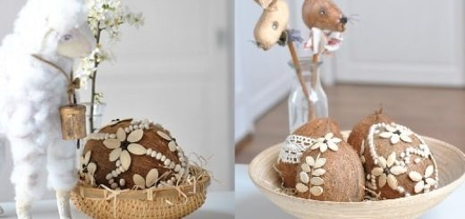 Декоративные пасхальные яйца из кокоса (1)