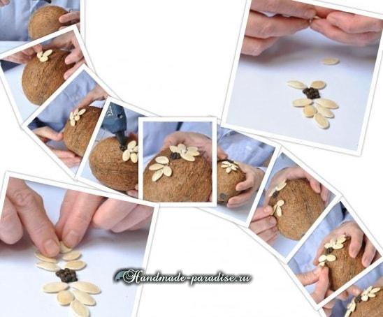 Декоративные пасхальные яйца из кокоса (3)