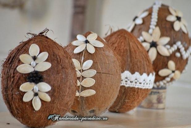 Декоративные пасхальные яйца из кокоса (5)