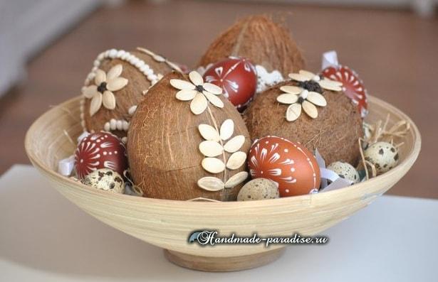 Декоративные пасхальные яйца из кокоса (7)