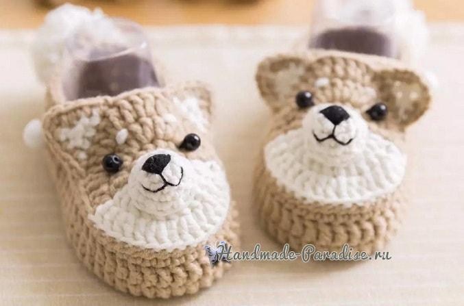Детские пинетки с собачками крючком (2)