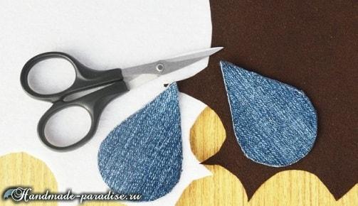 Джинсовые серьги с бисером своими руками (4)