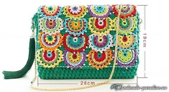 Клатч крючком с разноцветными чешуйками (6)