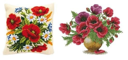 Красные маки - схемы вышивки крестом (1)