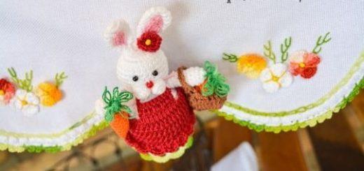 Кролик с корзинкой и морковкой. Схемы вязания (8)