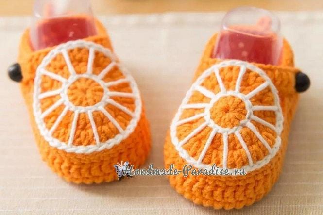 Оранжевые пинетки-апельсинки крючком (4)