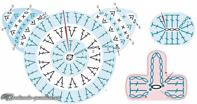 Пинетки с поросятами крючком. Схемы вязания (2)