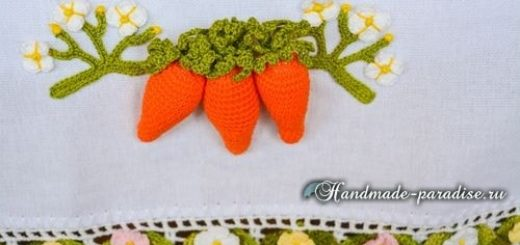 Полотенце с вязаной морковкой и цветочной обвязкой (2)