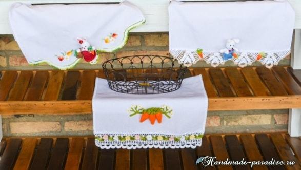 Полотенце с вязаной морковкой и цветочной обвязкой (3)