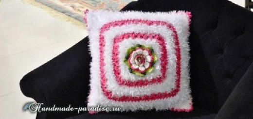 Пушистая подушка крючком из пряжи «травка» (4)