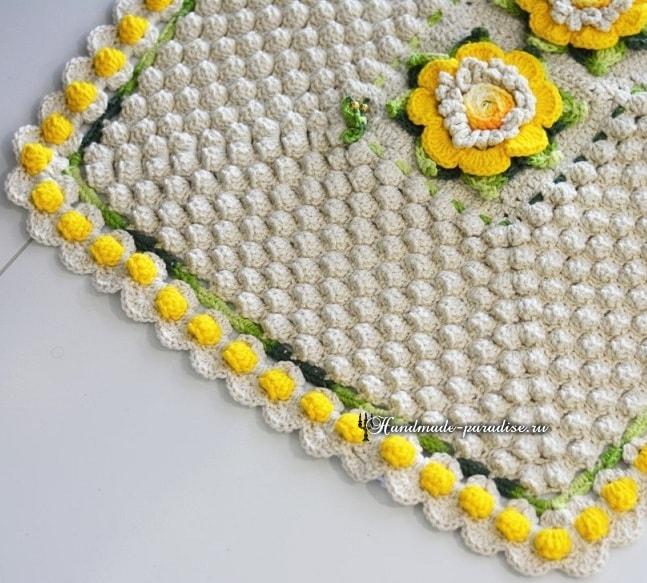 Цветочный коврик крючком узором «попкорн» (3)