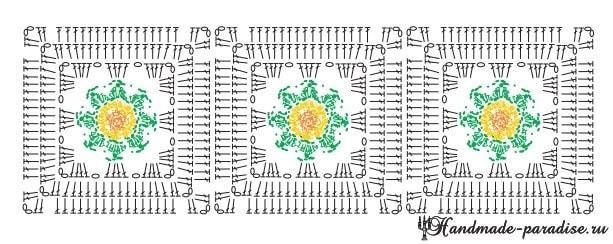 Цветочный коврик крючком узором «попкорн» (5)