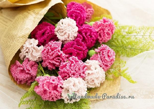 Цветы handmade. Вяжем крючком гвоздики (4)