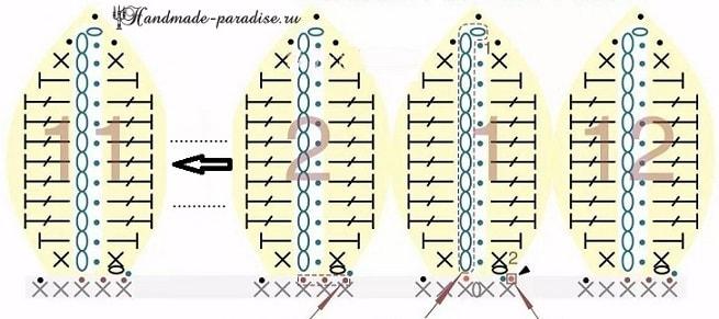 Вяжем крючком букет подсолнухов. Схемы вязания (6)