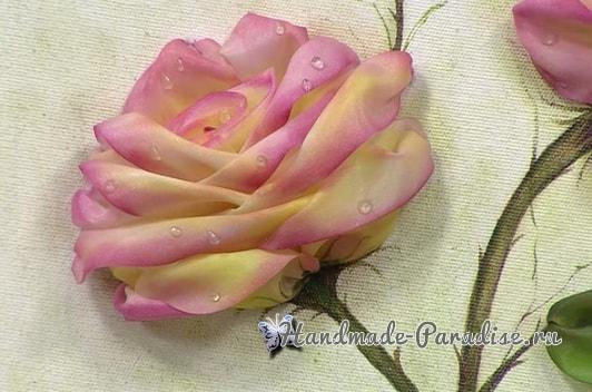Вышиваем лентами розы. Видео мк (1)