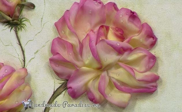 Вышиваем лентами розы. Видео мк (2)