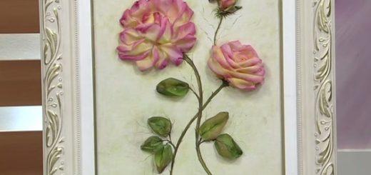Вышиваем лентами розы. Видео мк (3)
