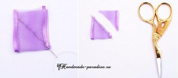 Вышивание лентами. Бабочки на полотенце (3)