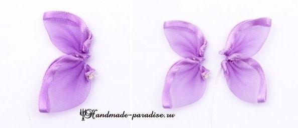 Вышивание лентами. Бабочки на полотенце (5)
