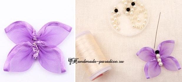 Вышивание лентами. Бабочки на полотенце (6)