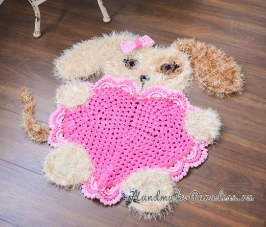 Детский коврик крючком «Собачка с сердцем» (3)