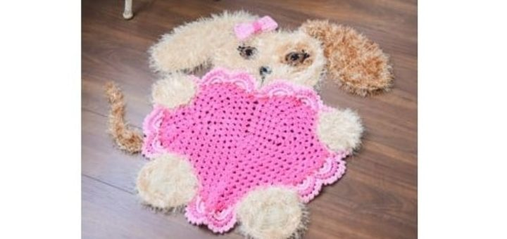 Детский коврик крючком «Собачка с сердцем» (4)