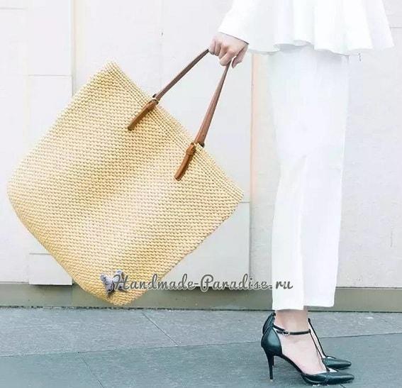Летняя стильная сумка-мешок крючком (2)