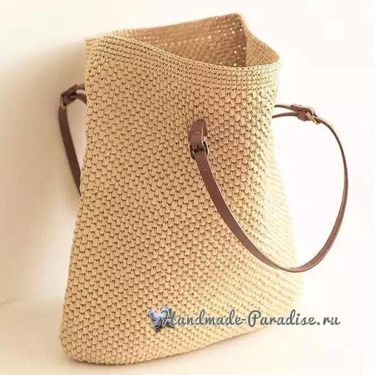 Летняя стильная сумка-мешок крючком (5)