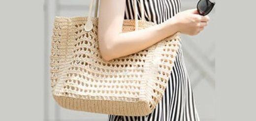 Летняя сумка крючком из бумажной рафии (4)