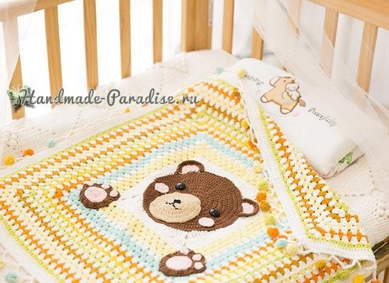 Плед с медвежонком для детской кроватки (2)