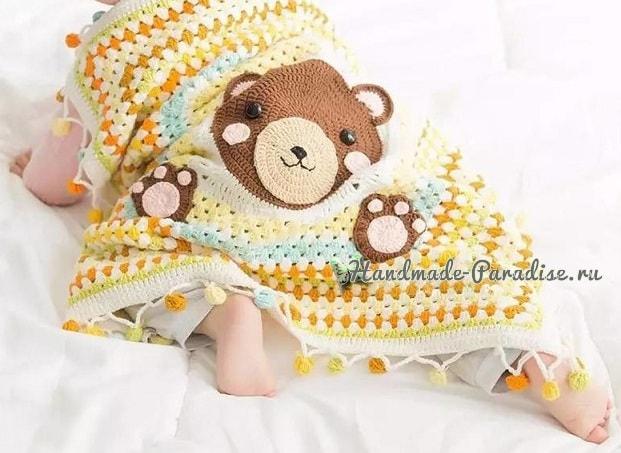 Плед с медвежонком для детской кроватки (4)