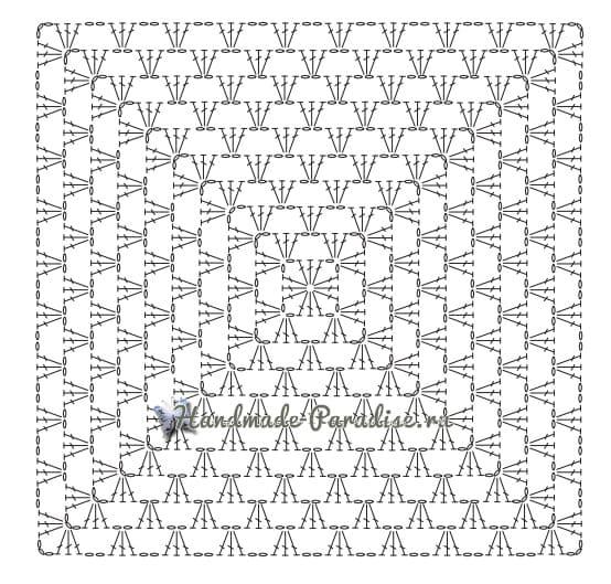 Пончо крючком бабушкиными квадратами (6)