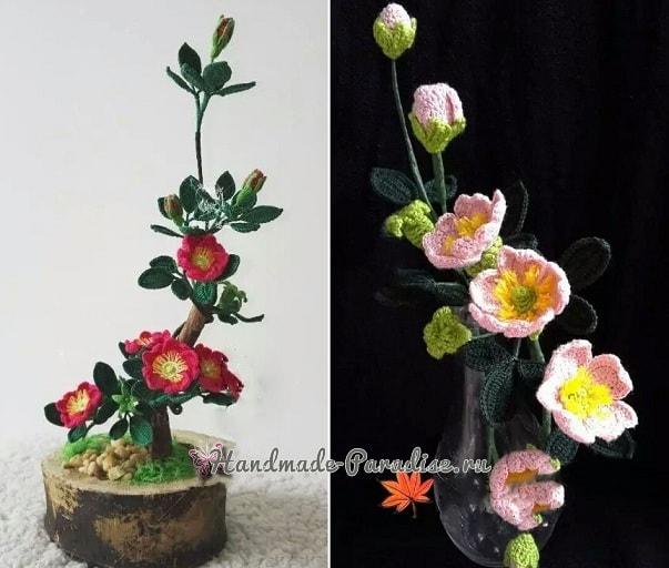 Цветы шиповника крючком. Схемы вязания (3)